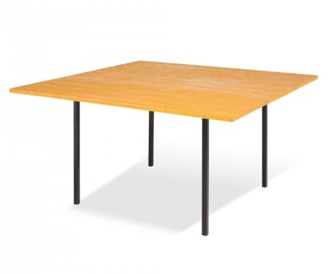 Tavolo quadrato con ripiano in legno