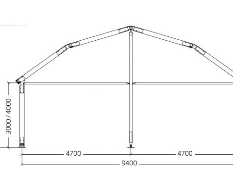 Tenda arco poligonale 9,5/14,5 mt